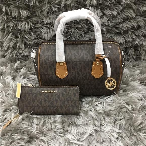 d31d7bc5321a Michael Kors Bags | Aria Brown Satchel Bag And Wallet | Poshmark